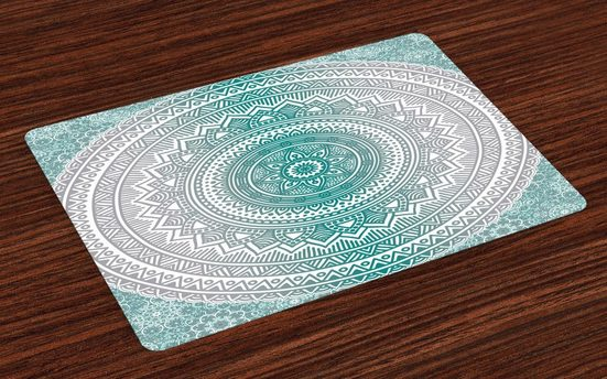 Tischdecke, »Waschbare Stoff Esszimmer Küche Tischdekorations Digitaldruck«, Abakuhaus, (4-teilig, 4 Teilig-St., Set aus 4x), Mandala Boho Meditation Art Work