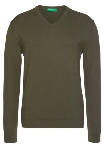 United Colors of Benetton V-Ausschnitt-Pullover unifarben meliert