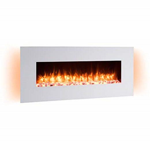 RICHEN Elektrokamin »Yoash«, RICHEN Elektrokamin Yoash - Wandkamin mit Heizung, 3D-Flammeneffekt & Fernbedienung - Weiß, 550 x 1280 x 139