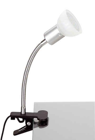 TRANGO LED Klemmleuchte, 2989-016 LED Klemmleuchte *EASY* inkl. 1x 3 Watt GU10 3000K warmweiß LED Leuchtmittel Tischlampe I Leseleuchte I Clip Lampe mit weißem Glas Lampenschirm, Klemmspot I Nachtlicht I Schreibtischlampe