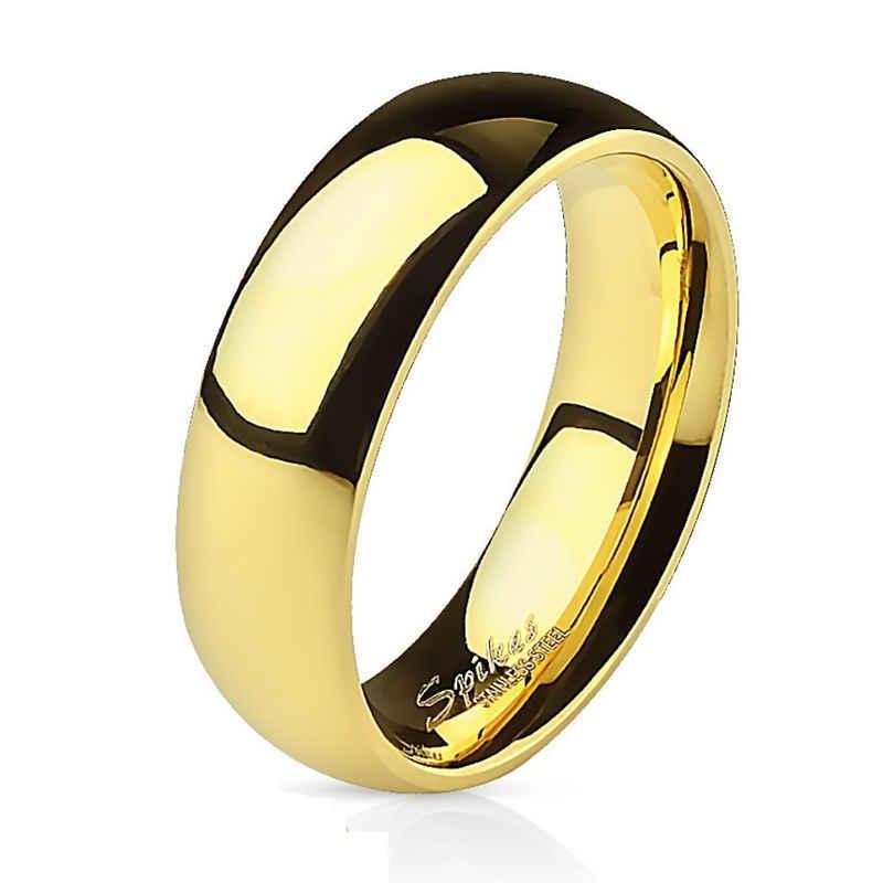 BUNGSA Fingerring »Ring klassisch Gold aus Edelstahl Unisex« (inkl. Schmuckbeutel aus Organza), Damen Herren Verlobung Ehering Valentinstag