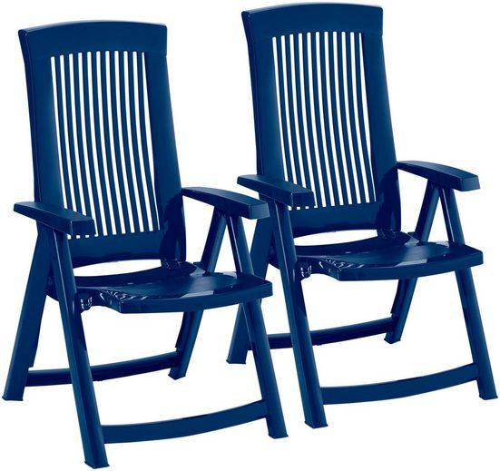 BEST Gartenstuhl »Kansas«, (2er Set), Kunststoff, verstellbar, blau