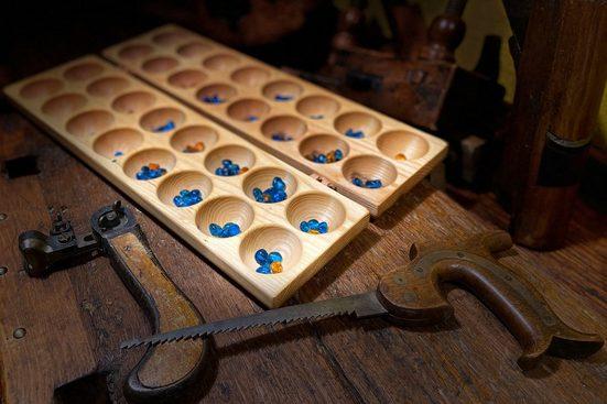 Madera Spielzeuge Spiel, Strategiespiel,Mancala »Hus/Bao mit 80 Glassteinche, Made in Germany«, Made in Germany