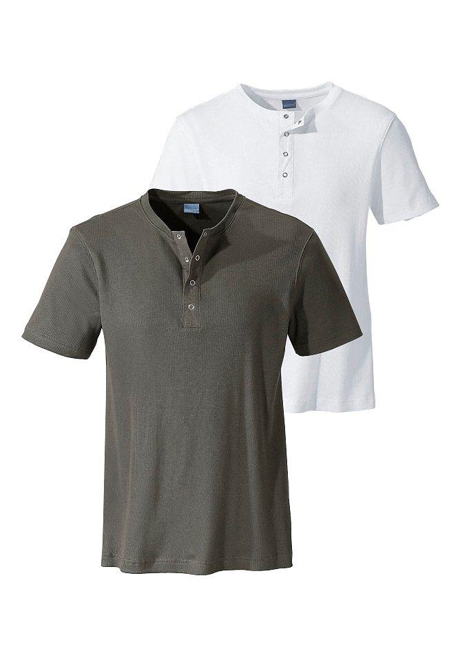 Arizona Henleyshirt (Packung, 2 tlg.) in khaki+weiß