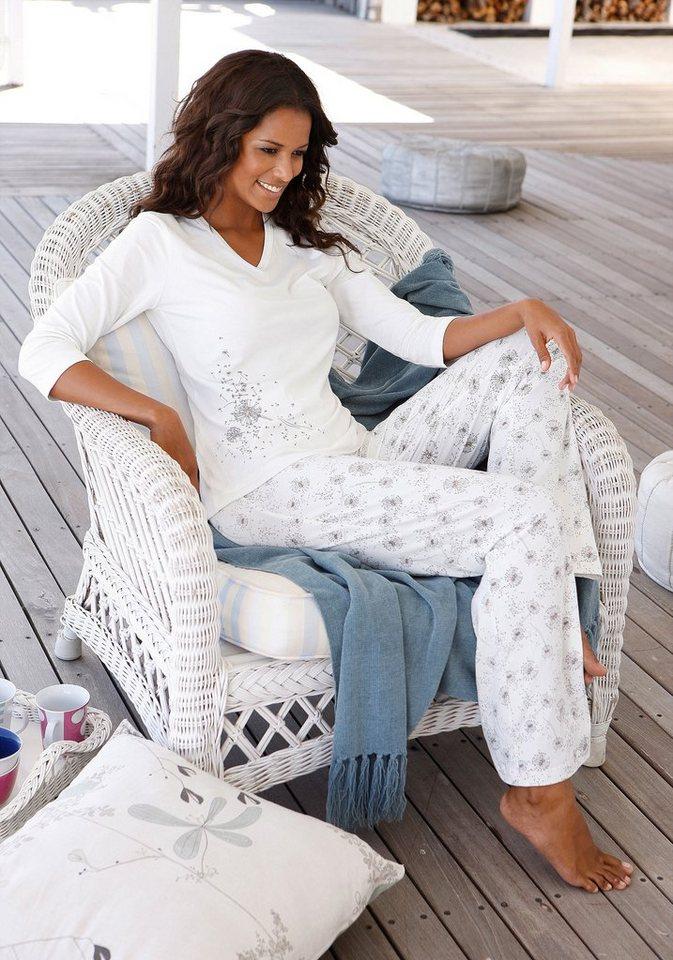 s.Oliver RED LABEL Bodywear Pyjama mit Allover-Pusteblumenprint in ecru