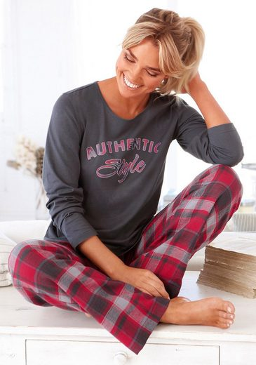 Buffalo Pyjama, mit karierter Flanellhose & bedrucktem Shirt
