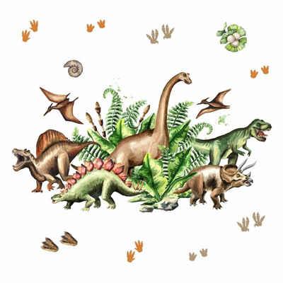 nikima Wandtattoo »168 Dinosaurier T-Rex, Triceratops, Stegosaurus«, in 6 vers. Größen