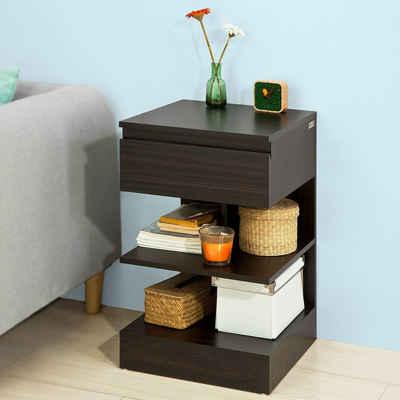 SoBuy Beistelltisch »FBT49«, Nachttisch mit 1 Schublade und 3 Ablagen