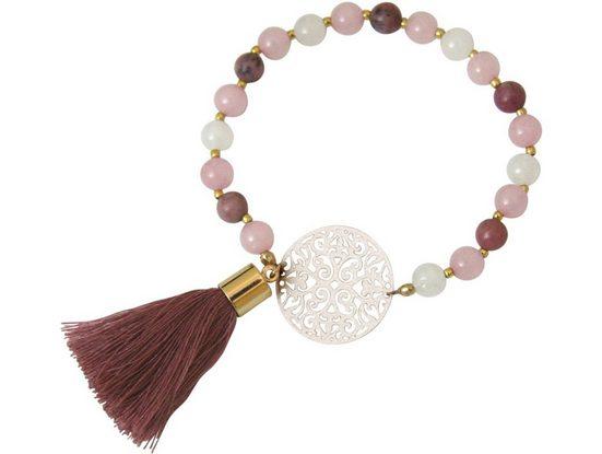 Gemshine Charm-Armband »Mandala Mala Armband Jade und Rosenquarz«, Made in Germany