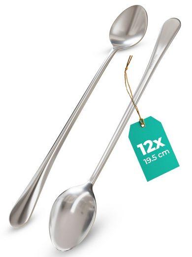 Praknu Latte-Macchiato-Löffel »12 stück Longdrinklöffel aus Edelstahl« (12 Stück), Edelstahl Rostfrei - Spülmaschinenfest - Für Tiefe Gläser