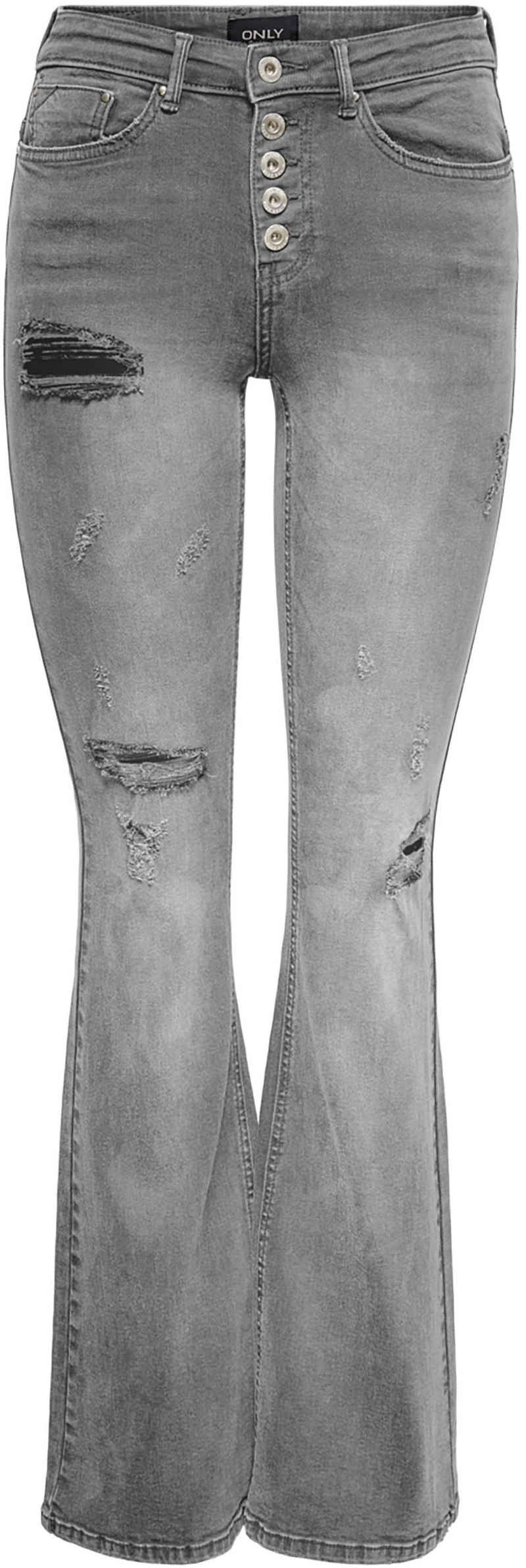 Only Bootcut-Jeans »ONLPAOLA HW RETRO FLARED« mit Destroyed Details