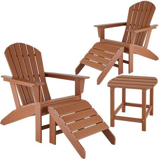 tectake Gartenmöbelset »2 Gartenstühle Janis mit 2 Fußablagen und Tisch«, (5-tlg)