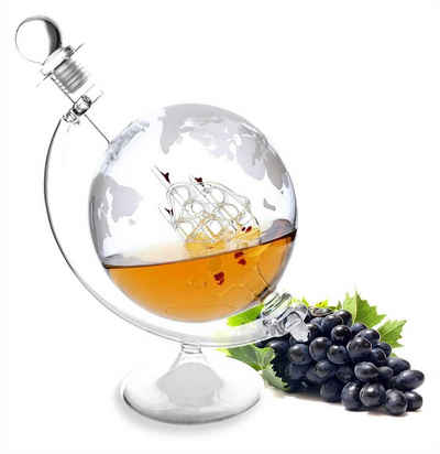 Lantelme Dekanter »Dekanter Glaskaraffe mit Schiff 1 Liter«, (3-tlg), für Cognac, Wein oder Whiskey