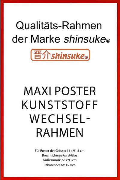 empireposter Rahmen »Posterrahmen Wechselrahmen Shinsuke® Maxi-Poster Profil: 15mm Kunststoff 61x91,5cm«, Farbe rot mit Acryl-Scheibe