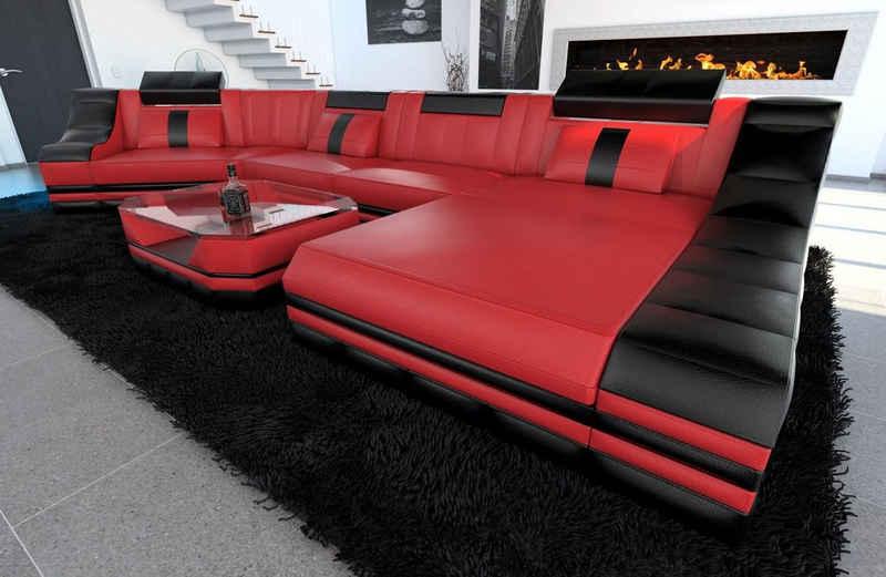 Sofa Dreams Wohnlandschaft »Turino«, C Form Ledersofa mit LED, wahlweise mit Bettfunktion als Schlafsofa, Designersofa