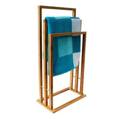 MSV Handtuchhalter »Handtuchständer Bambus 3 Stangen«, Handtuchtreppe aus natürlichem Bambus, 3 Stangen, 42 x 24 x 82 cm