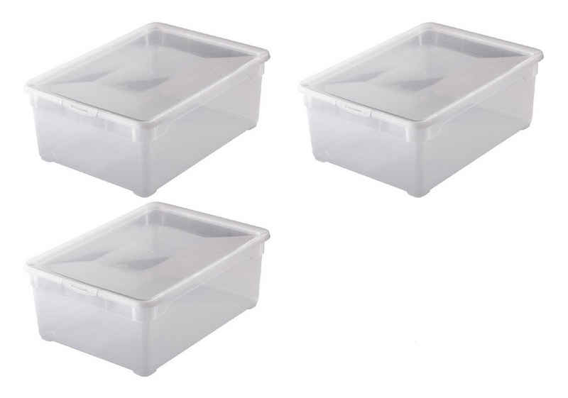 Rotho Aufbewahrungsbox »Rotho 3-er Set Clear Box Man Shoe 10 l, Aufbewahru« (3 Stück)