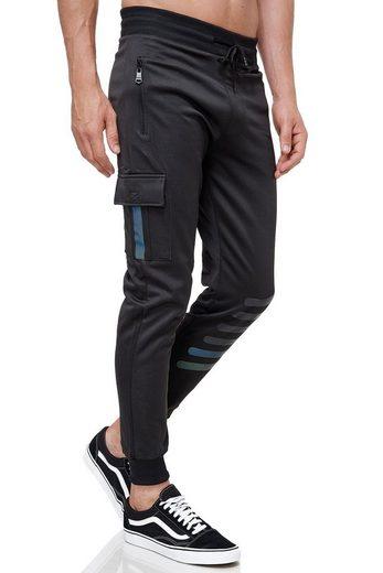 Max Men Jogginghose »3508« Herren Cargo Jogginghose mit Gummibund Reflektor Streifen Jogger Sweat Pants