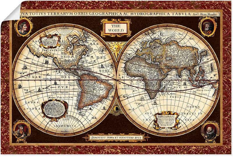 Artland Wandbild »Weltkarte«, Landkarten (1 Stück), in vielen Größen & Produktarten - Alubild / Outdoorbild für den Außenbereich, Leinwandbild, Poster, Wandaufkleber / Wandtattoo auch für Badezimmer geeignet