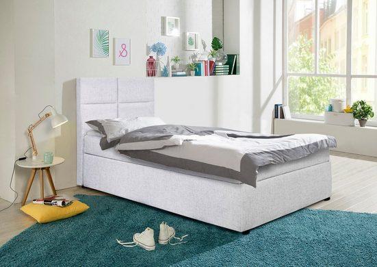 my home Polsterbett »Nela«, incl. Bonnell-Federkernmatratze in Breite 90 cm und 140 cm, incl. Topper und Stauraum