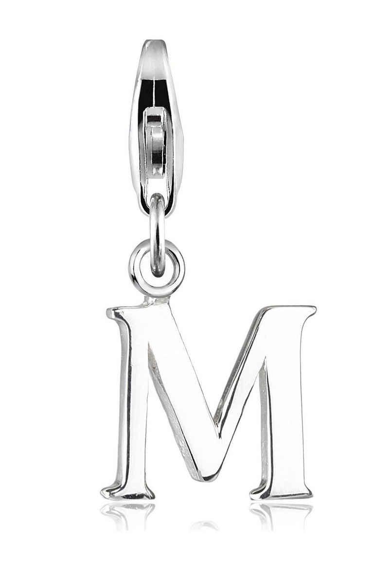 Elli Charm-Einhänger »Buchstabe M Initialie 925 Sterling Silber«, Buchstabe