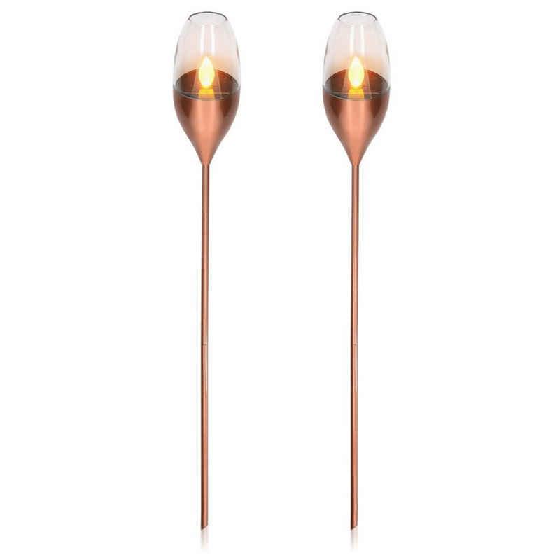 Navaris LED Gartenleuchte, 2x LED Solar Edelstahl Gartenfackel - 8,5 x 112cm - Garten Fackel Solarleuchten Set - Außen Kerzenschein-Effekt Solarfackel