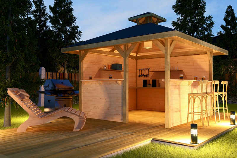 weka Pavillon »Gartenoase«, (Set), BxT: 380x380 cm, inkl. Brüstung