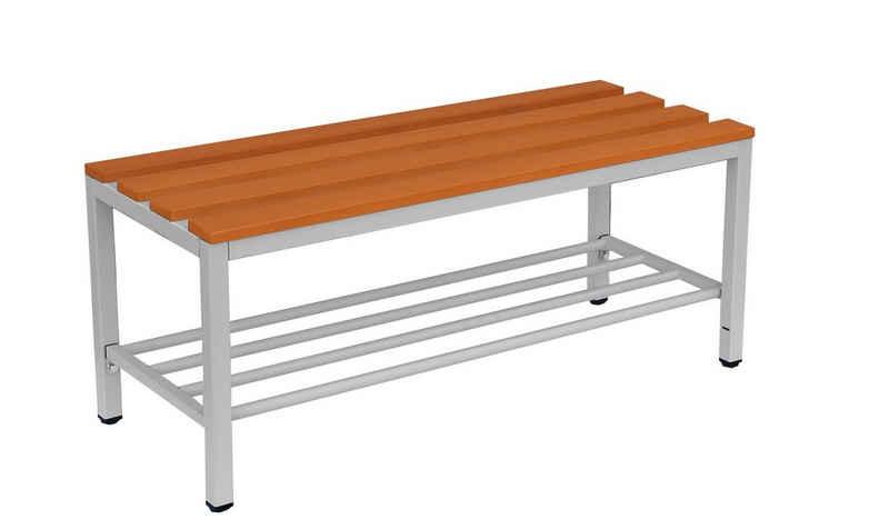 Steelboxx Sitzbank »Sitzbank mit Schuhrost, lichtgrau/buche« (1-St), Gestell: RAL 7035 Lichtgrau / Sitzbankauflagen: Buche