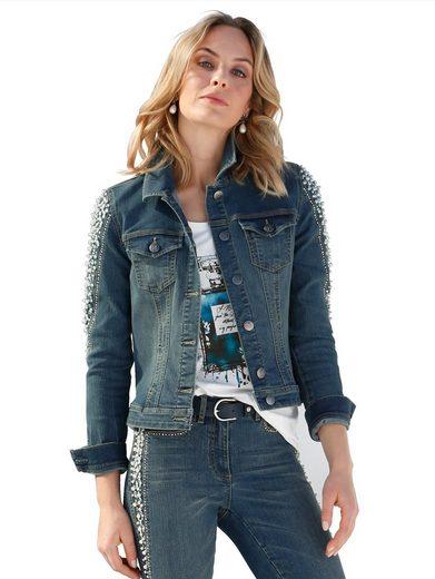 Amy Vermont Jeansjacke mit Perlen- und Strasssteindekoration