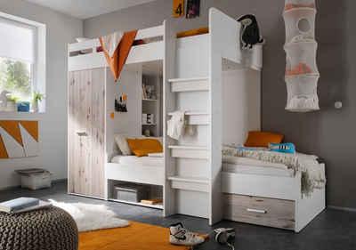 Begabino Hochbett mit 2 Liegeflächen, Kleiderschrank und Regalen