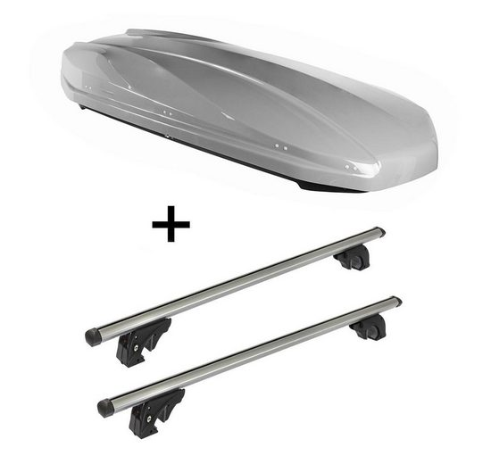 VDP Fahrradträger, DACHBOX STRIKE 440 Liter grau + Dachträger/Relingträger VDPLION1 kompatibel mit Kia Clarus (5 Türer) 95-01