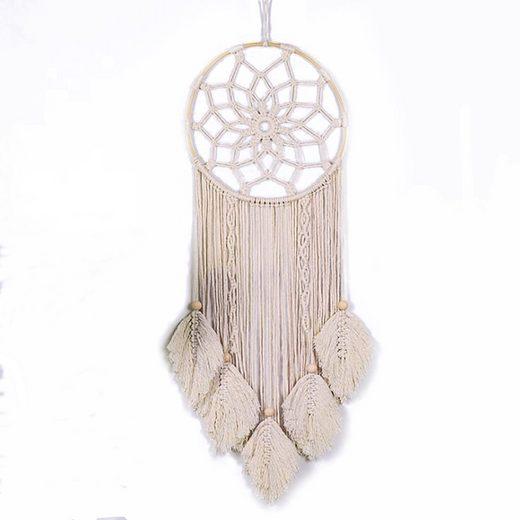kueatily Dekoobjekt »Dream Catcher Gewebte Feder Large Wandbehang Handmade Dreamcatcher Boho Tassels Decoration Home Decor Ornament Craft Gift, ∅30cm x 86cm«
