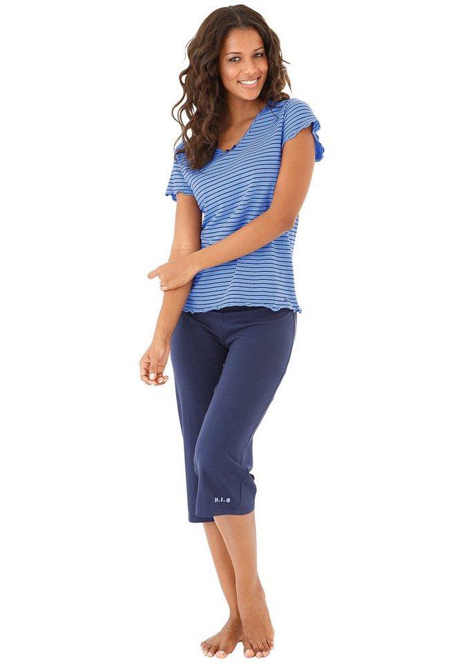 H.I.S Capripyjamer mit gestreiftem T-Shirt mit Kräuselrändern in blau-marine