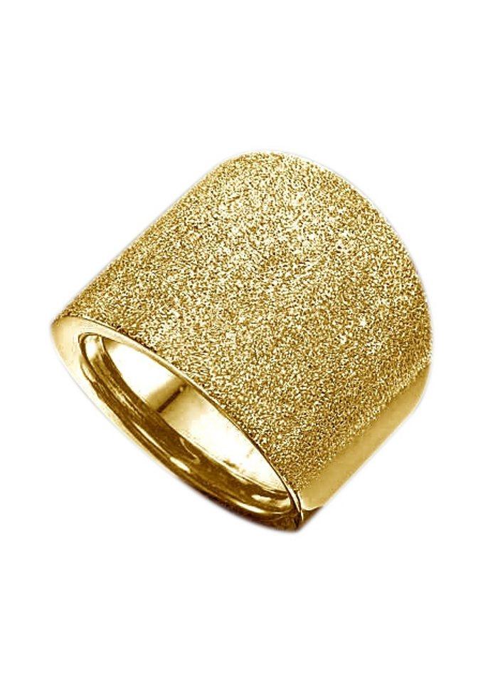 firetti Ring im Verlauf, Oberfläche in Brillantstruktur in Gelbgold 375