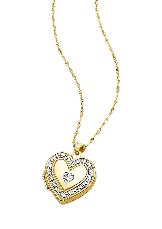 """firetti Halsschmuck: Halskette """"Medaillon-Herz"""" in Singapurkettengliederung mit Diamant"""