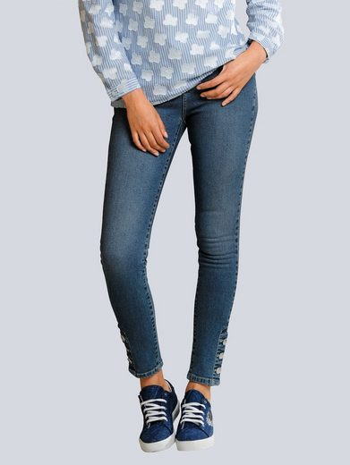 Alba Moda Slim-fit-Jeans mit dekorativen Knöpfen am Saum