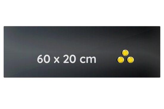 Lüllmann Memoboard »Memoboard Glas Magnettafel Glasboard Glastafel Schwarz«, (1-tlg), zum Anheften von Notizzetteln (inkl. 3 Magnete) - zum Beschreiben mit dem Whiteboardmarker (1x inklusive)