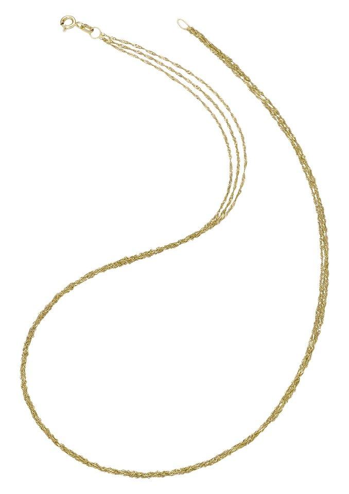 firetti Halsschmuck: Halskette / Collierkettchen in Singapurkettengliederung, mehrreihig in Gold 585