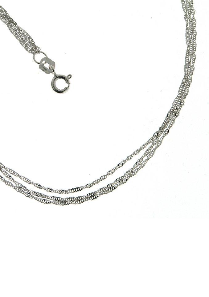 firetti Halsschmuck: Halskette / Collierkettchen in Singapurkettengliederung, mehrreihig in Weißgold 585