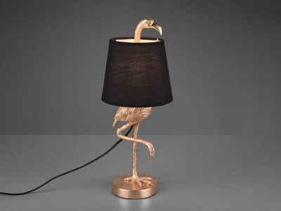 meineWunschleuchte LED Tischleuchte, Große Lampe Landhausstil, Golden, Schwarz Gold, Lampenschirme Stoff - Klein - Konisch, Fensterbank, mit Schnur-Schalter