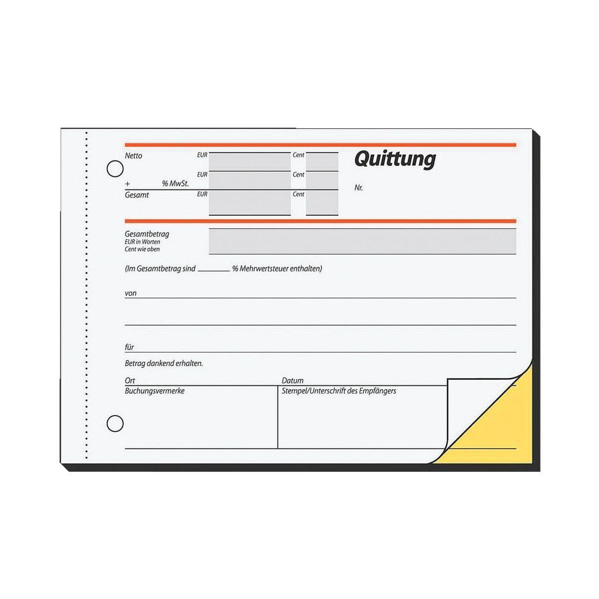 Sigel Formularbuch SD021 »Quittung mit MwSt.«