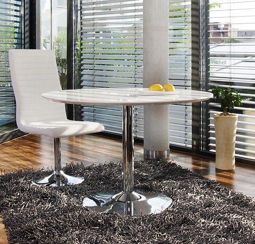 SalesFever Nuni Esstisch rund 110cm mit Tulpenfuß weiß hochglänzend
