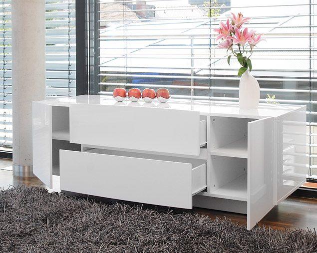 SalesFever Sideboard Celine mit 2 Türen und 2 Schubladen weiß Hochglanz