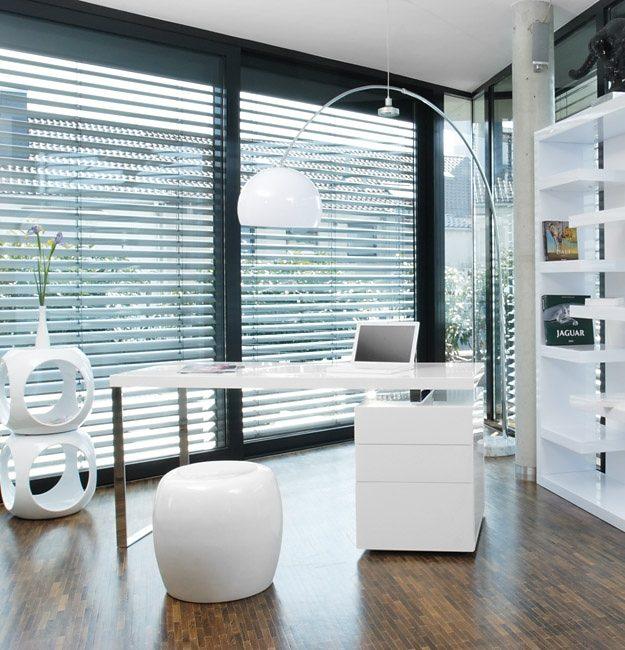 SalesFever Schreibtisch inkl. Container 3 Schubladen weiß Hochglanz »White Line«
