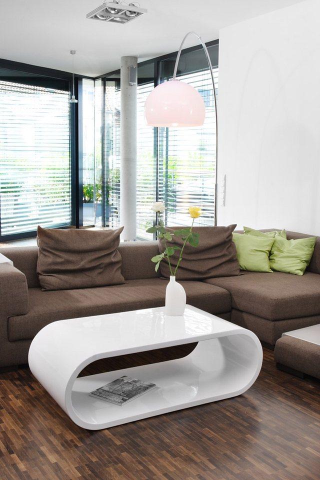 SalesFever Couchtisch Finio 120x60cm weiß hochglänzend in weiß