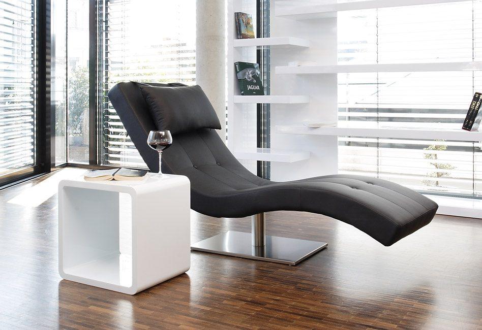 SalesFever Tiara Designer Liege schwarz mit vernickeltem Gestell