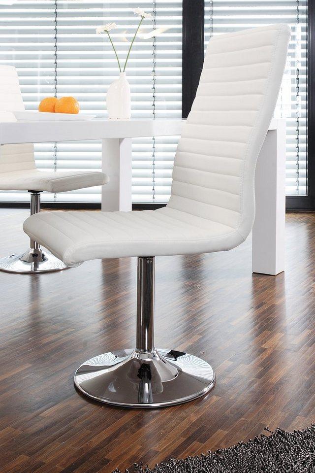 SalesFever Lio Drehstuhl aus Kunstleder mit Chromfuß in weiß