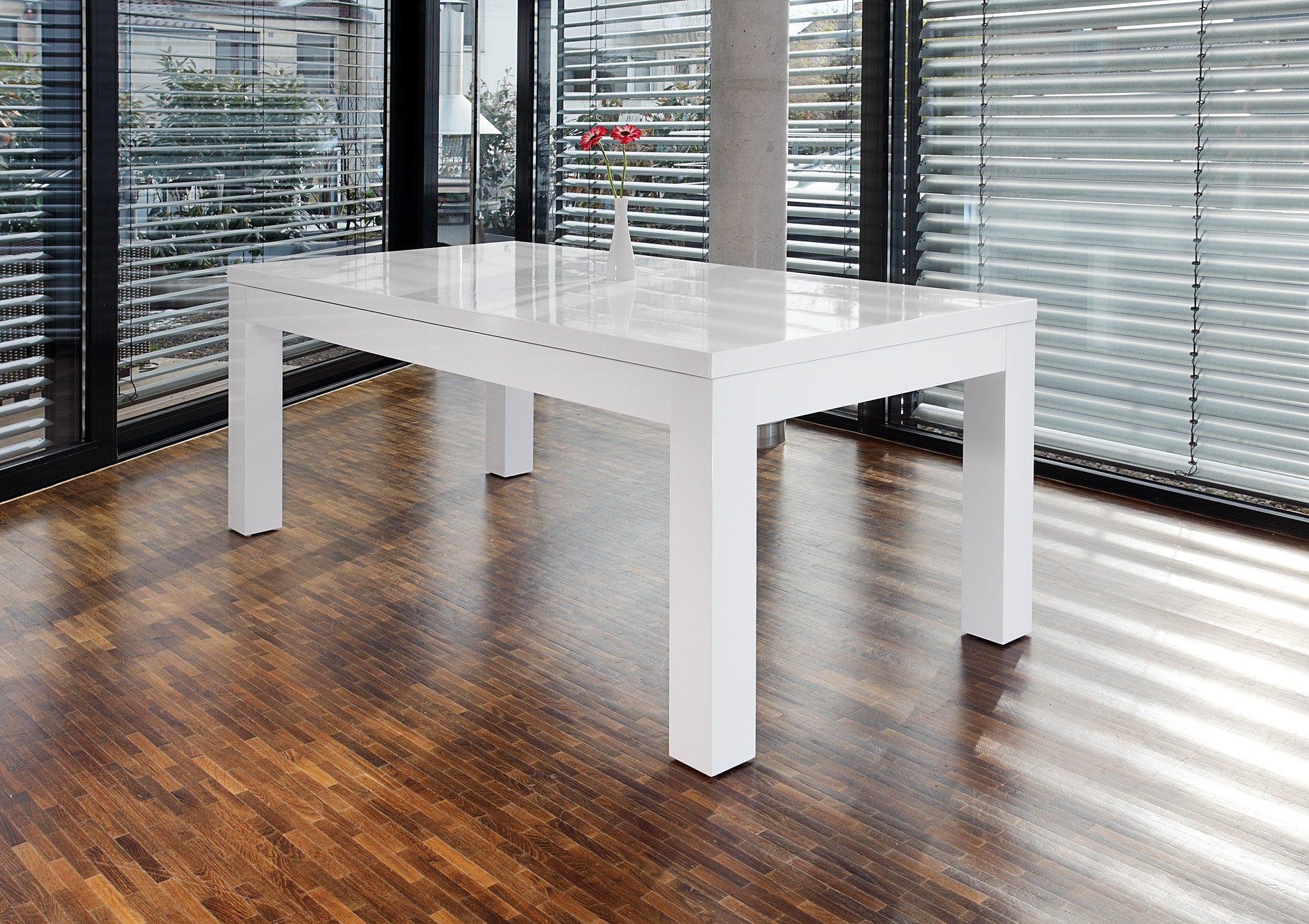 SalesFever Esstisch 180×90 cm ausziehbar weiß hochglänzend