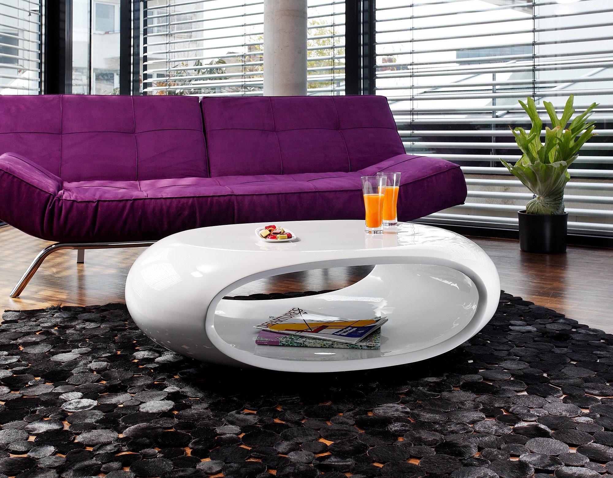 SalesFever Couchtisch Hochglanz weiß oval »Ufo«