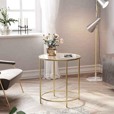 VASAGLE Beistelltisch »LGT20G LGT020A02«, Beistelltisch rund, Glastisch, Couchtisch, Nachttisch, golden